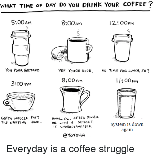 Struggle, Coffee, and Time: WHAT TIME oF DAY Do You DRINK YouR COFFEE  5.00Am  8:00Am  I 2.. OOpm  You PooR BASTARID  YEP. YouRE Go0D  No TiME FoR LvNCH, EH?  8:00 pm  I :00pm  3:00 Pm  GoTTA MuscLe PAsT  THE NAPPING Hovr.  UMM... O. AFTER DIWNER.  OR WITH A DEssen T  S UNDERSTANDABLE  System is down  again  QYoYoH/A Everyday is a coffee struggle