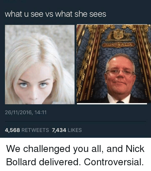 What U See Vs What She Sees: what u see vs what she sees  ALISTRAALIA.  26/11/2016, 14:11  4,568  RETWEETS 7434  LIKES We challenged you all, and Nick Bollard delivered. Controversial.