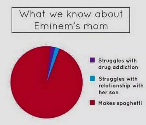 Struggles: What we know about  Eminem's mom  Struggles with  drug addiction  Struggles with  relationship with  her son  Makes spaghetti