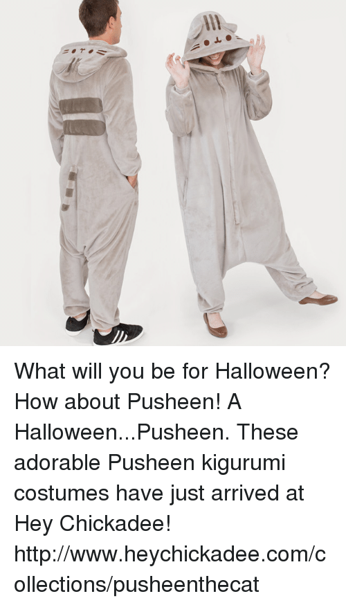Pusheens: What will you be for Halloween? How about Pusheen!  A Halloween...Pusheen. These adorable Pusheen kigurumi costumes have just arrived at Hey Chickadee!  http://www.heychickadee.com/collections/pusheenthecat