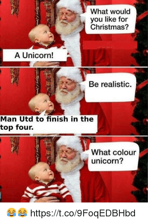 A Unicorn: What would  you like for  Christmas?  A Unicorn!  Be realistic.  Man Utd to finish in the  top four.  What colour  unicorn? 😂😂 https://t.co/9FoqEDBHbd