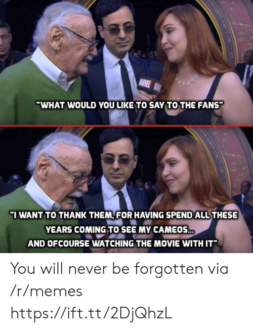 ofcourse: WHAT WOULD YOU LIKE TO SAY TO THE FANS  I WANT TO THANK THEM, FOR HAVING SPEND ALL THESE  YEARS COMING TO SEE MY CAMEOS  AND OFCOURSE WATCHING THE MOVIE WITH IT* You will never be forgotten via /r/memes https://ift.tt/2DjQhzL