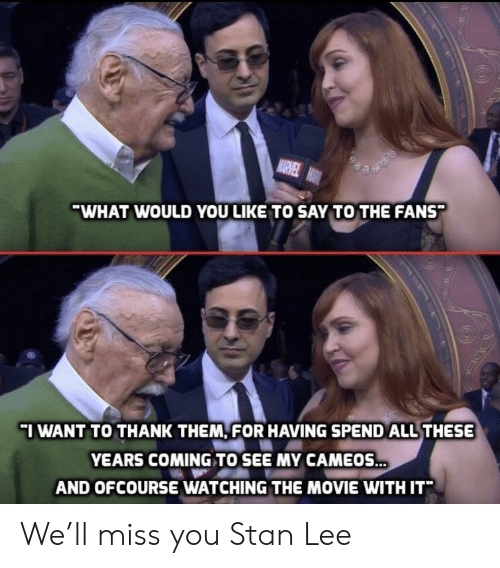 ofcourse: WHAT WOULD YOU LIKE TO SAY TO THE FANS  I WANT TO THANK THEM, FOR HAVING SPEND ALL THESE  YEARS COMING TO SEE MY CAMEOS  AND OFCOURSE WATCHING THE MOVIE WITH IT We'll miss you Stan Lee