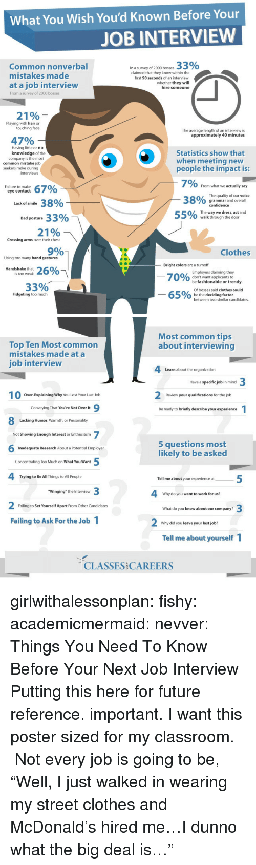"playing with hair: What You Wish You'd Known Before Your  JOB INTERVIEW  33%  Common nonverbal  mistakes made  at a job interview  In a survey of 2000 bosses  claimed that they know within the  first 90 seconds of an interview  whether they will  hire someone  From a survey of 2000 bosses  21%  Playing with hair or  touching face  The average length of an interview is  approximately 40 minutes  47%  Having little or no  knowledge of the  company is the most  Statistics show that  when meeting new  common mistake job  seekers make during  people the impact is:  interviews  7% From what we actually say  O grammar and overall  O/ The way we dress, act and  Failure to make  eye contact  The quality of our voice  38%  38%  Lack of smile  confidence  Bad posture 33%  0  walk through the door  21%  Crossing arms over their chest  9%  Clothes  Using too many hand gestures  -Bright colors are a turnoff  Handshake that  Employers claiming they  don't want applicants to  is too weak  7010%  o  33% -  be fashionable or trendy  Of bosses said clothes could  be the deciding factor  Fidgeting too much  o  between two similar candidates.   Most common tips  about interviewing  Top Ten Most common  mistakes made at a  ob interview  Learn about the organization  Have a specific job in mind  Over-Explaining Why You Lost Your Last Job  Review your qualifications for the job  Conveying That You're Not Over It  Be ready to briefly describe your experience  Lacking Humor, Warmth, or Personality  Not Showing Enough Interest or Enthusiasm  5 questions most  likely to be asked  Inadequate Research About a Potential Employer  Concentrating Too Much on What You Want  Trying to Be All Things to All People  Tell me about your experience at  ""Winging"" the Interview  Why do you want to work for us?  Failing to Set Yourself Apart From Other Candidates  What do you know about our company?  Failing to Ask For the Job 1  Why did you leave your last job?  Tell me about yourself  CLASSES CAREERS girlwithalessonplan:  fishy:  academicmermaid:  nevver:  Things You Need To Know Before Your Next Job Interview  Putting this here for future reference.  important.  I want this poster sized for my classroom.  Not every job is going to be, ""Well, I just walked in wearing my street clothes and McDonald's hired me…I dunno what the big deal is…"""