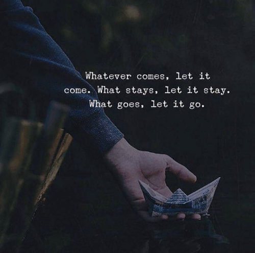Let It Go: Whatever comes, let it  come. What stays, let it stay.  What goes, let it go.