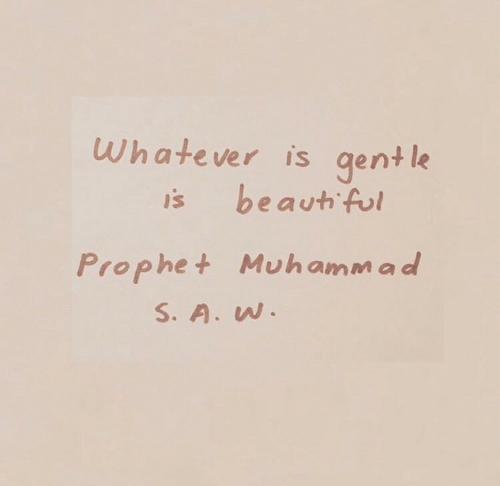 Prophet, Whatever, and Gent: Whatever is gent le  is beauth ful  Prophet Muhamma d