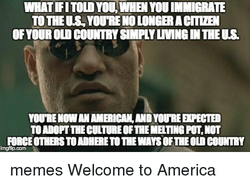 Country Memes: WHATIFITOLD YOU, WHEN YOUIMMIGRATE  TOTHEUSLYouTRENOLONGERACITLZEN  YOURENOWANAMERICANLANDYOUREEPECTED  TOADOFTTIECULTURE OFTHEMELTINGPOT NOT  FORCE OTHER STOADHERETOTIEWAYSOFTHEOLO COUNTRY memes Welcome to America