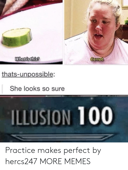Unpossible: Whatisthis  Carrot  thats-unpossible:  She looks so sure  ILLUSION 100 Practice makes perfect by hercs247 MORE MEMES