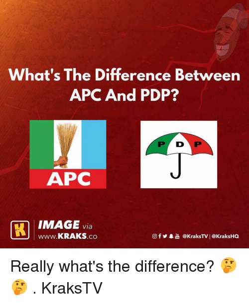 Memes, Image, and 🤖: What's The Difference Between  APC And PDP?  P D P  IMAGE via  www.KRAKS.co  @f y象喦@kraksTV | @KraksHQ Really what's the difference? 🤔🤔 . KraksTV