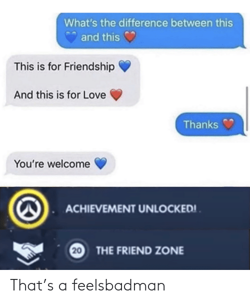 zone: What's the difference between this  and this  This is for Friendship  And this is for Love  Thanks  You're welcome  ACHIEVEMENT UNLOCKED! .  20  THE FRIEND ZONE That's a feelsbadman