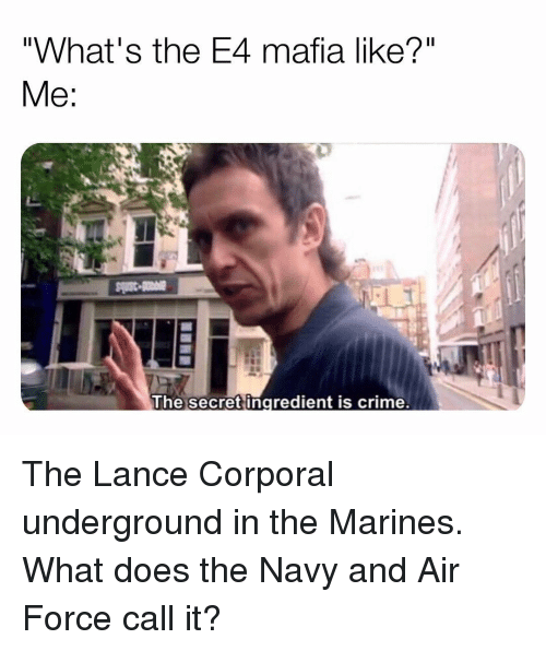 """Crime, Memes, and Air Force: """"What's the E4 mafia like?""""  The secret ingredient is crime. The Lance Corporal underground in the Marines. What does the Navy and Air Force call it?"""