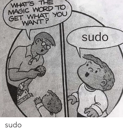 Magic, Word, and Word To: WHAT'S THE  MAGIC WORD TO  GET WHAT YOU  WANT?  sudo sudo