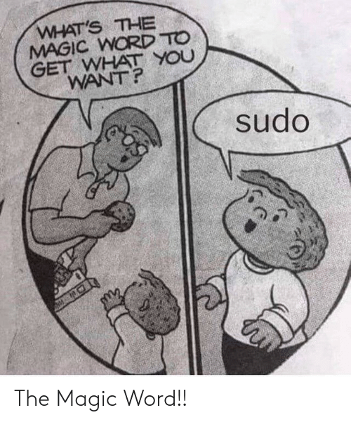 what you want: WHAT'S THE  MAGIC WORD TO  GET WHAT YOU  WANT?  sudo The Magic Word!!
