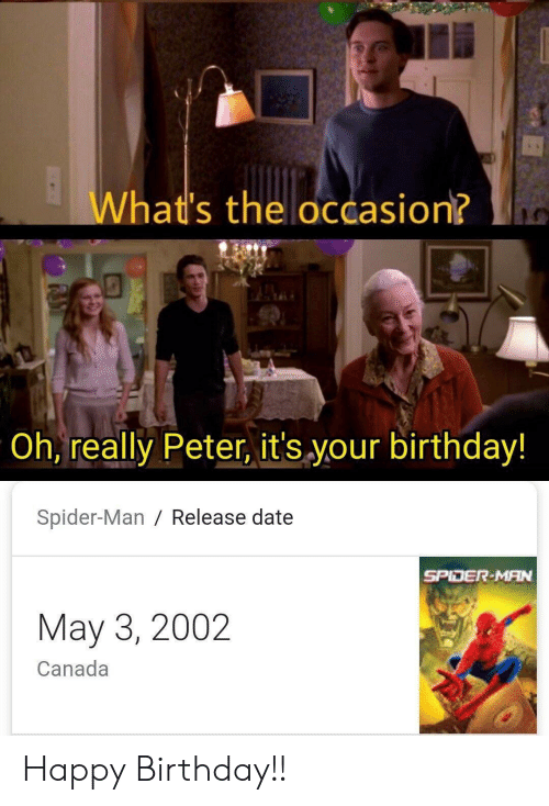 its your birthday: What's the occasion?  Oh, really Peter, it's your birthday!  Spider-Man / Release date  SPIDER-MAN  May 3, 2002  Canada Happy Birthday!!