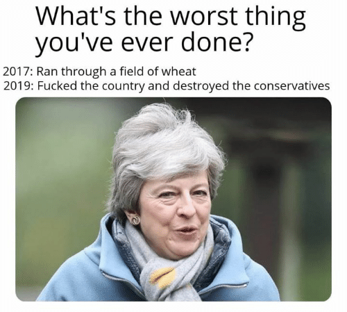 Memes, The Worst, and 🤖: What's the worst thing  vou've ever done?  2017: Ran through a field of wheat  2019: Fucked the country and destroyed the conservatives