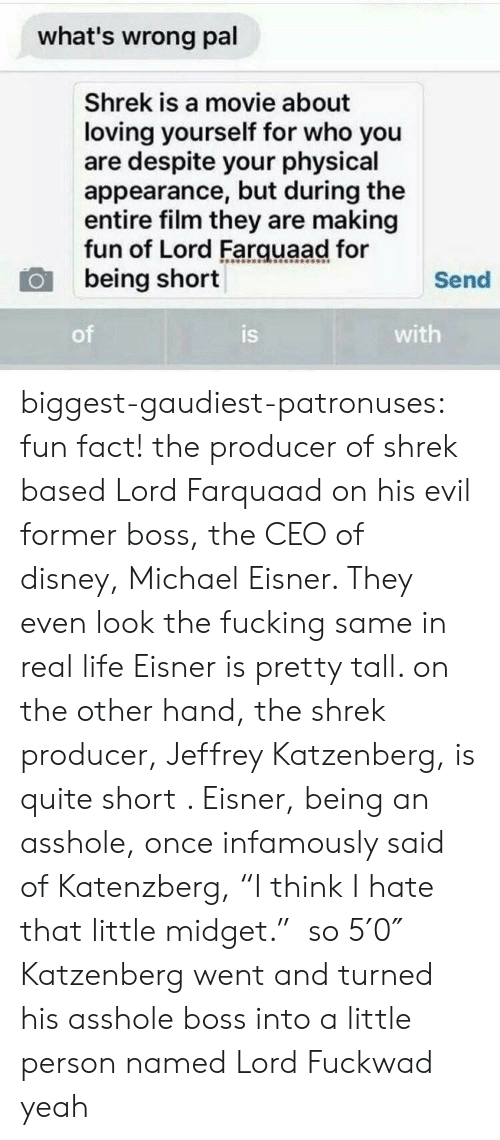 """The Shrek: what's wrong pal  Shrek is a movie about  loving yourself for who you  are despite your physical  appearance, but during the  entire film they are making  fun of Lord Farquaad for  being short  Send  of  is  with biggest-gaudiest-patronuses:  fun fact! the producer of shrek based Lord Farquaad on his evil former boss, the CEO of disney,Michael Eisner. They even look the fucking same in real life Eisner is pretty tall. on the other hand, the shrek producer, Jeffrey Katzenberg, is quite short . Eisner, being an asshole, once infamously said of Katenzberg, """"I think I hate that little midget."""" so 5′0″ Katzenberg went and turned his asshole boss into a little person named Lord Fuckwad yeah"""