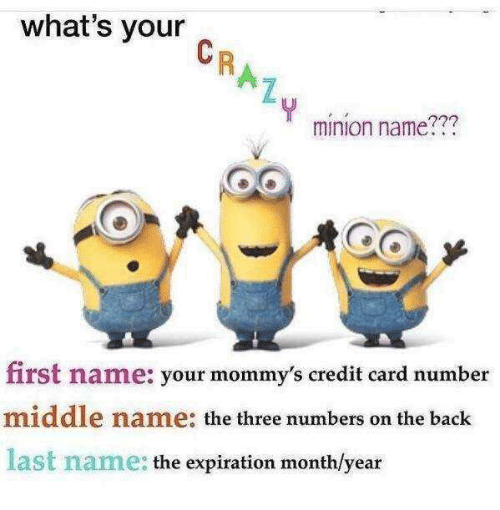 Minion: what's your  minion name???  first name: your mommy's credit card number  middle name: the three numbers on the back  last name: the expiration monthlyear