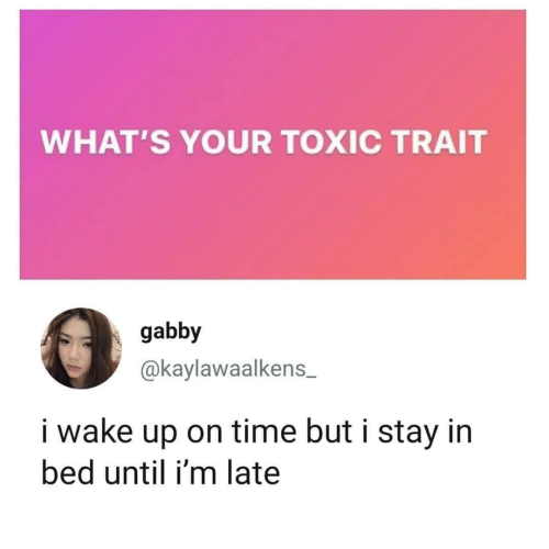 toxic: WHAT'S YOUR TOXIC TRAIT  gabby  @kaylawaalkens  i wake up on time but i stay in  bed until i'm late