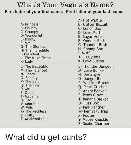 Dank, Love, and Trap: What's Your Vagina's Name?  First letter of your first name. First letter of your last name.  A- Princess  B- Chubby  C- Grumpy  D- Wonderful  E- Dainty  F- Mrs  G- The Glorious  H- The Incredible  I- President  J- The Magnificent  K- Lady  L- The Insatiable  M- The Talented  N Fancy  O- Sparkly  P- The Bald  Q. The Tiny  R- Mc  S Queen  T- Madame  U- Sad  V- Adorable  W- Wild  X- The Reckless  Y- Fluffy  Z- Mademoiselle  A- Hot Waffle  B- Glitter Biscuit  C- Lunch Box  D- Love Muffin  E- Sugar Hole  F. Wonder Bush  G Thunder Bush  H- Chomp Box  I- Muff  J- Jiggly Bits  K- Love Button  L- Thunder Dungeon  M- Love Bunker  N- Destroyer  O- Danger Bin  P- Whisker Biscuit  Q- Pearl Crusher  R- Angry Beaver  S- Penis Glove  T- Banana Basket  U- Fuzz Box  V- Pink Panther  W- Penis Fly Trap  X- Pooter  Y- Moose Knuckle  Z- Snake Charmer What did u get cunts?
