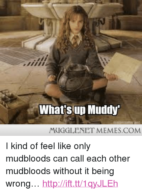 """Muddy: What'sup Muddy  MUGGLENET MEMES.COM <p>I kind of feel like only mudbloods can call each other mudbloods without it being wrong&hellip; <a href=""""http://ift.tt/1qyJLEh"""">http://ift.tt/1qyJLEh</a></p>"""