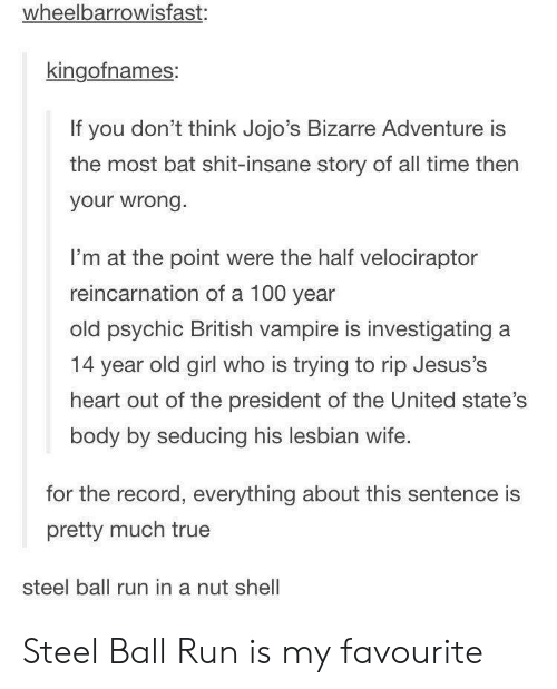 14 Year: wheelbarrowisfast:  kingofnames:  If you don't think Jojo's Bizarre Adventure is  the most bat shit-insane story of all time then  your wrong.  I'm at the point were the half velociraptor  reincarnation of a 100 year  old psychic British vampire is investigating a  14 year old girl who is trying to rip Jesus's  heart out of the president of the United state's  body by seducing his lesbian wife.  for the record, everything about this sentence is  pretty much true  steel ball run in a nut shell Steel Ball Run is my favourite