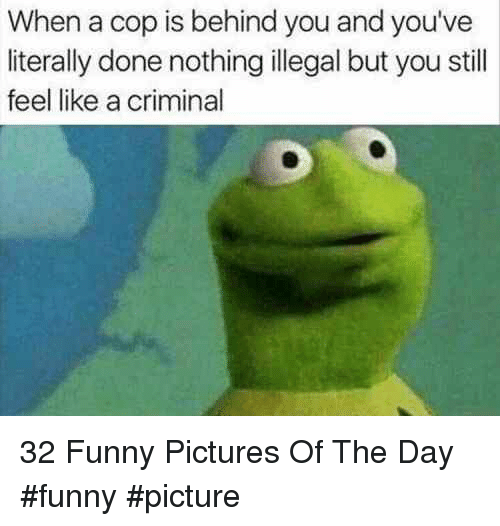 Funny Pictures Of: When a cop is behind you and you've  literally done nothing illegal but you still  feel like a criminal 32 Funny Pictures Of The Day #funny #picture