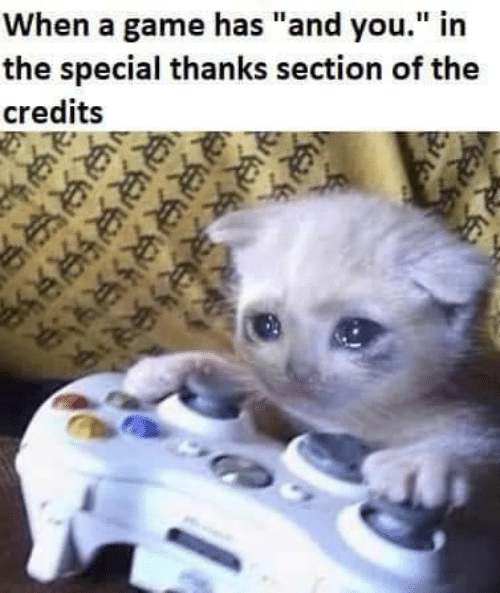 "Game, A Game, and You: When a game has ""and you."" in  the special thanks section of the  credits"
