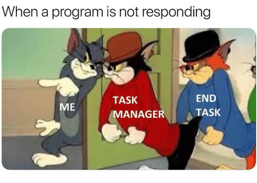 Program, End, and  Task: When a program is not responding  TASK  END  ME  MANAGERTASK