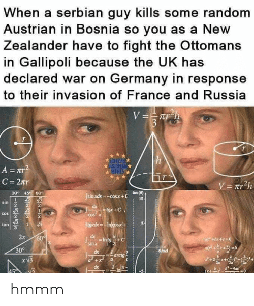 Polandball: When a serbian guy kills some random  Austrian in Bosnia so you as a New  Zealander have to fight the Ottomans  in Gallipoli because the UK has  declared war on Germany in response  to their invasion of France and Russia  309 45 60°  sin xdx-cosx+ C  tan (8)  10  sin  2  tan S  3  x 60  sin X  309  arctg  dx1x- hmmm