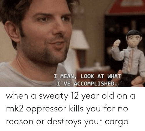 sweaty: when a sweaty 12 year old on a mk2 oppressor kills you for no reason or destroys your cargo