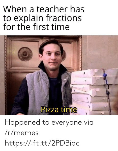 pizza time: When a teacher has  to explain fractions  for the first time  Pizza time Happened to everyone via /r/memes https://ift.tt/2PDBiac