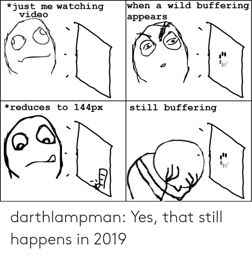 Tumblr, Blog, and Video: when a wild buffering  *just me watching  video  |appears  *reduces to 144px  still buffering darthlampman:  Yes, that still happens in 2019