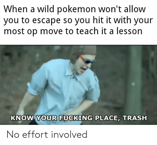 Fucking, Funny, and Pokemon: When a wild pokemon won't allow  you to escape so you hit it with your  most op move to teach it a lesson  KNOW YOUR FUCKING PLACE, TRASH No effort involved