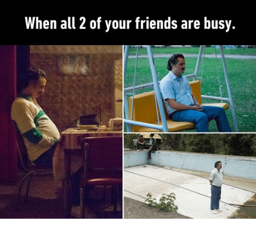 Friends, Memes, and 🤖: When all 2 of your friends are busy.