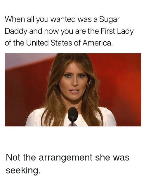 United Stated: When all you wanted was a Sugar  Daddy and now you are the First Lady  of the United States of America. Not the arrangement she was seeking.