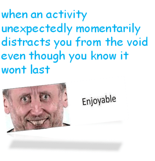 Nihilist: when an activity  unexpectedly momentarily  distracts you from the void  even though you know it  wont last  Enjoyable