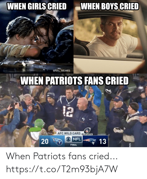 Patriotic: WHEN BOYS CRIED  WHEN GIRLS CRIED  @NFL_MEMES  WHEN PATRIOTS FANS CRIED  12  AFC WILD CARD  PLAYOFFS  NE DIA  13  NFL  13  T)  FINAL  20 When Patriots fans cried... https://t.co/T2m93bjA7W