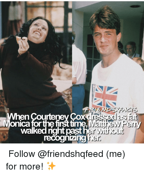 cox: When Courteney Cox dressed as  Monica forthe firsttime Matthew Perry  recoghizingher  walked right  past her with o  ur ↳ Follow @friendshqfeed (me) for more! ✨