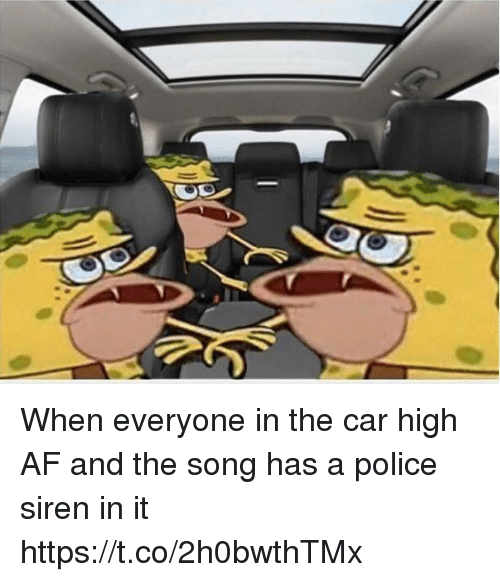 Sirening: When everyone in the car high AF and the song has a police siren in it https://t.co/2h0bwthTMx