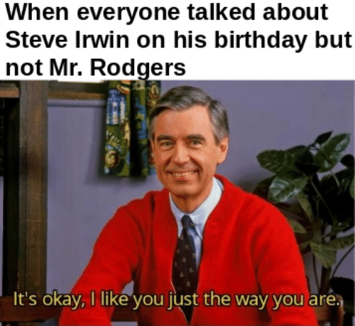 Steve Irwin: When everyone talked about  Steve Irwin on his birthday but  not Mr. Rodgers  It's okay,I like you just the way you are