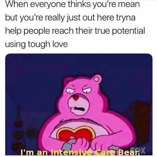 Love, Relationships, and True: When everyone thinks you're mean  but you're really just out here tryna  help people reach their true potential  using tough love  I'm an Intensive Care Bear