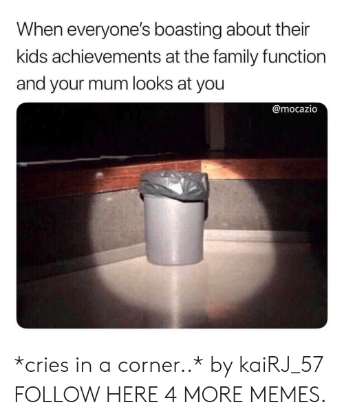 Dank, Family, and Memes: When everyone's boasting about their  kids achievements at the family function  and your mum looks at you  @mocazio *cries in a corner..* by kaiRJ_57 FOLLOW HERE 4 MORE MEMES.