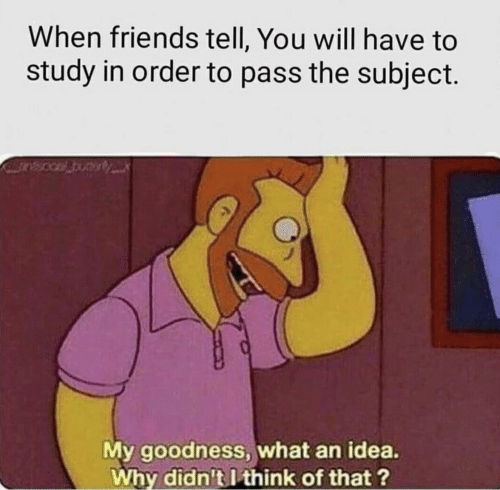 Friends, Idea, and Why: When friends tell, You will have to  study in order to pass the subject.  My goodness, what an idea.  Why didn't I think of that ?