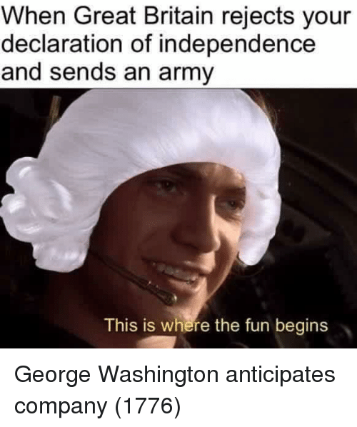 Declaration of Independence: When Great Britain rejects your  declaration of independence  and sends an army  This is where the fun begins George Washington anticipates company (1776)