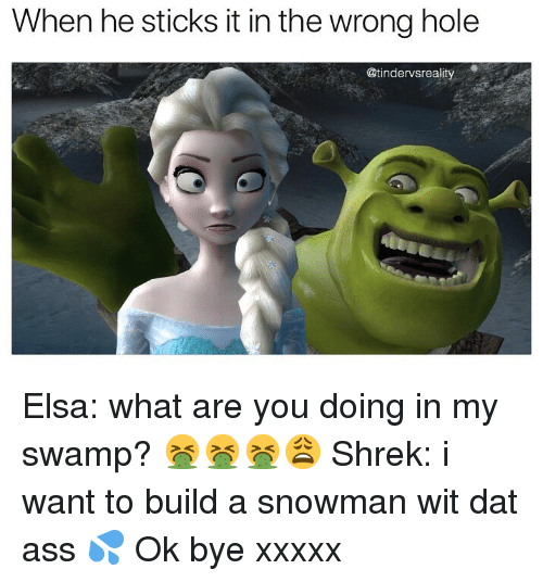Dank, Dat Ass, and Elsa: When he sticks it in the wrong hole  @tindervsreality Elsa: what are you doing in my swamp? 🤮🤮🤮😩 Shrek: i want to build a snowman wit dat ass 💦 Ok bye xxxxx