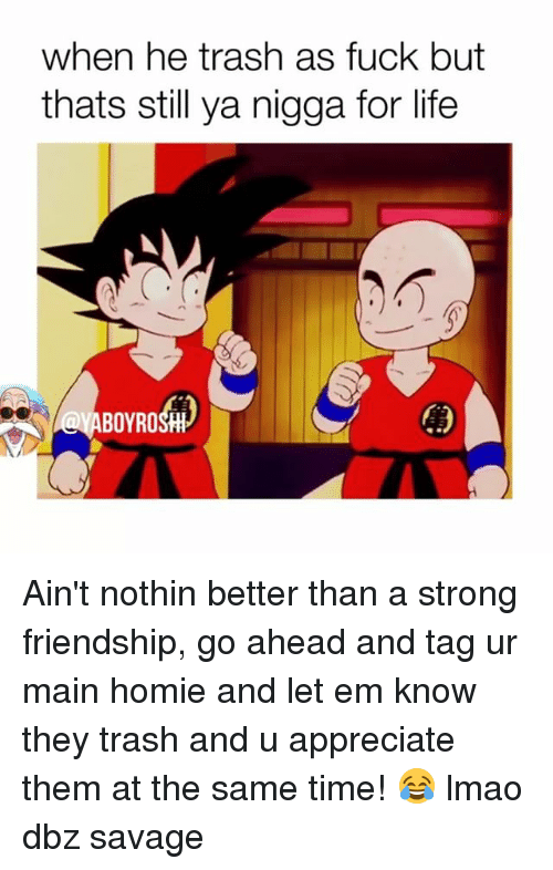 Homie, Life, and Lmao: when he trash as fuck but  thats still ya nigga for life  BOYROSHH Ain't nothin better than a strong friendship, go ahead and tag ur main homie and let em know they trash and u appreciate them at the same time! 😂 lmao dbz savage
