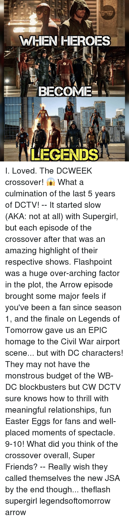 spectacles: WHEN HEROES  BECOME  IGIBLERD VISION  LEGENDS I. Loved. The DCWEEK crossover! 😱 What a culmination of the last 5 years of DCTV! -- It started slow (AKA: not at all) with Supergirl, but each episode of the crossover after that was an amazing highlight of their respective shows. Flashpoint was a huge over-arching factor in the plot, the Arrow episode brought some major feels if you've been a fan since season 1, and the finale on Legends of Tomorrow gave us an EPIC homage to the Civil War airport scene... but with DC characters! They may not have the monstrous budget of the WB-DC blockbusters but CW DCTV sure knows how to thrill with meaningful relationships, fun Easter Eggs for fans and well-placed moments of spectacle. 9-10! What did you think of the crossover overall, Super Friends? -- Really wish they called themselves the new JSA by the end though... theflash supergirl legendsoftomorrow arrow