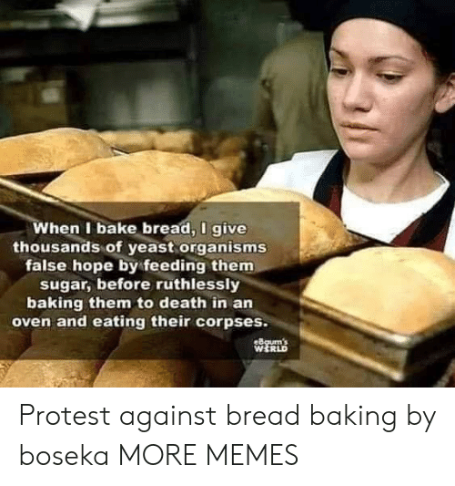 corpses: When I bake bread, I give  thousands of yeast organisms  false hope by feeding them  sugar, before ruthlessly  baking them to death in an  oven and eating their corpses.  eBgum's  WERLD Protest against bread baking by boseka MORE MEMES