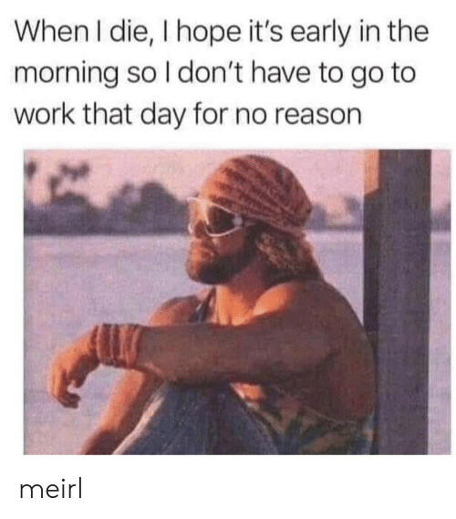 go to work: When I die, I hope it's early in the  morning so I don't have to go to  work that day for no reason meirl