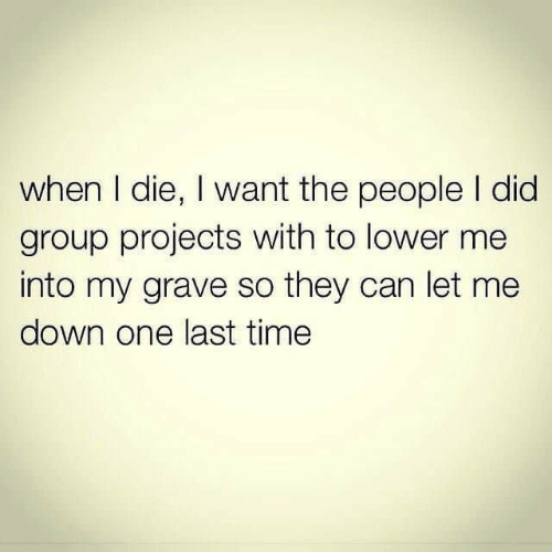 group: when I die, I want the people I did  group projects with to lower me  into my grave so they can let me  down one last time